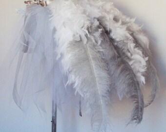 White Silver Grey Ostrich Feather Burlesque Bustle