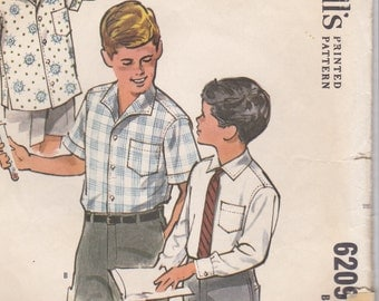 1960's Sewing Pattern - McCalls No 6209 Boys Shirt long or short sleeved. Size 14