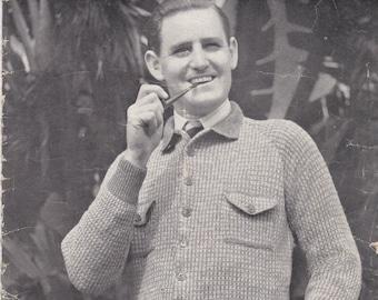 Sun Glo Knitting for Men Vintage Knitting  Book No 60 - Wartime - 1940s  Vintage 1940s Original Pattern.