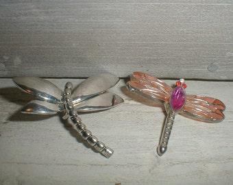 2 Dragonfly Pendants/Slides *Silver Tone By Best* *Enamel & Rhinestones*