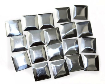 Silver Pyramids Square Studs, Iron On Studs, Hot Fix Studs, Glue On  Pyramids 15 mm