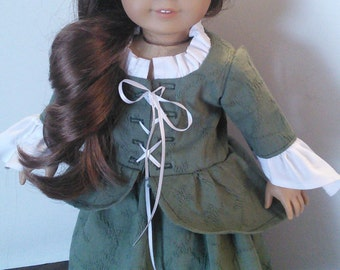 "18"" Doll Clothes fits American Girl - Sage Green Laced Carico, Skirt and Mob Cap Felicity"