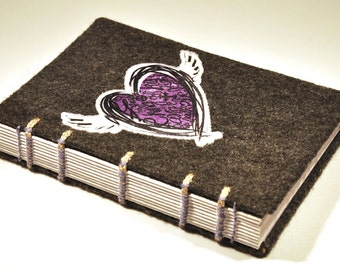 "Inspirational Journal and Sketchbook - Handmade, coptic bound, felt and inspired heart, 4 x 6"" size"