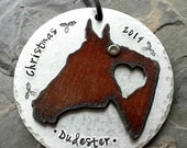 Horse Keepsake Ornament-Personalized Horse-Ornament-Hand Stamped Pet Ornament-Horse Lover Christmas Gift