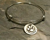 Hand Stamped Personalized Dog Charm Bangle-Sterling Silver Charm-Stainless Steel Expandable bangle-Dog Lover
