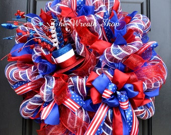 Bright Patriotic Mesh Wreath - 4th of July Wreath