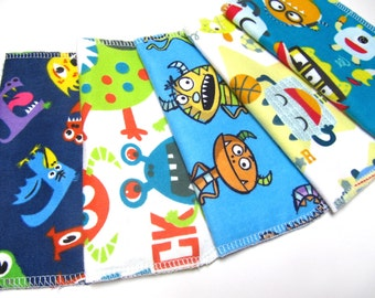 Monster Cloth Napkins, 5 Monster and And Alien Napkins, Eco-Friendly Kids Napkins, Boys Monster Lunch Napkins, Back To School