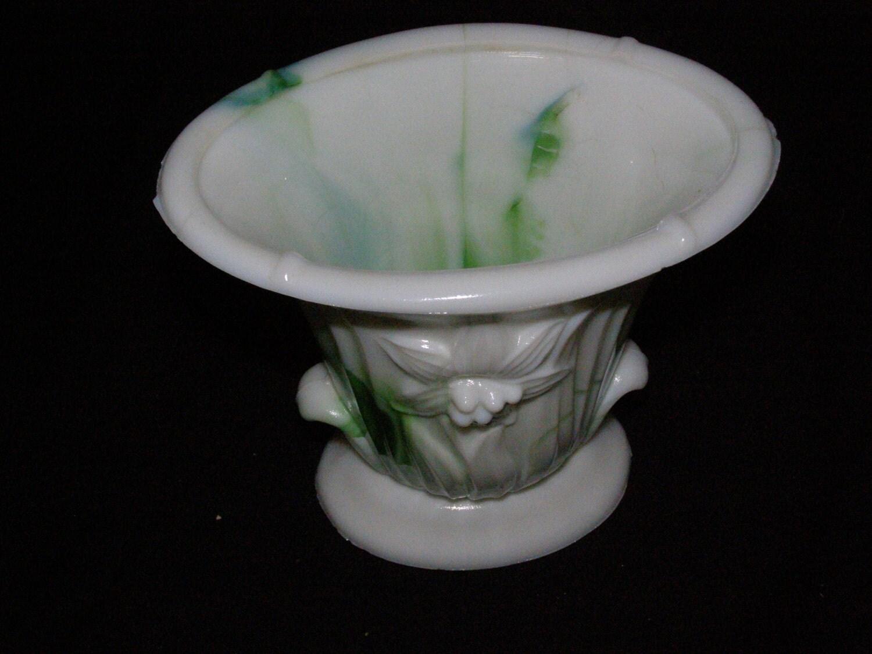 Green Amp White Akro Agate Slag Glass Marbleized Vase By