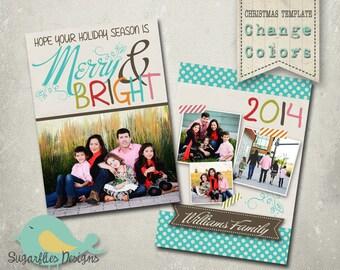 Christmas Card Template PHOTOSHOP TEMPLATE - Family Christmas Card 127