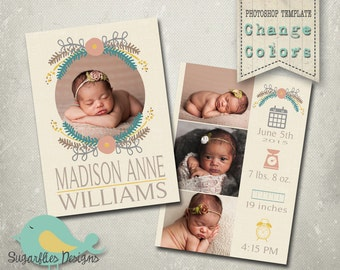 Baby Girl Announcement PHOTOSHOP TEMPLATE - Baby Girl 013