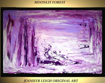 "Original Large Abstract Painting Modern Contemporary Canvas Art Purple Silver Forest  Wall Art 36""x24"" Palette Knife Texture Oil J.LEIGH"