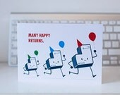 QWERKY computer key greetings card - RETURN