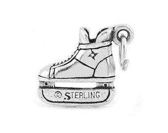 Sterling Silver Small Hockey Skate Charm (3d Charm)