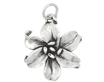 Sterling Silver Large Flower Lily Charm (3d Charm)