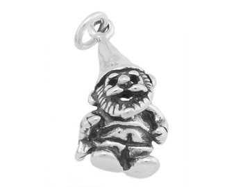 Sterling Silver Small Garden Lawn Gnome Charm (3d Charm)