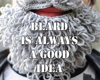 Lumbersexual crochet beard and moustache, grey, crochet, wholeyear accessory for man, gift for teen, boy