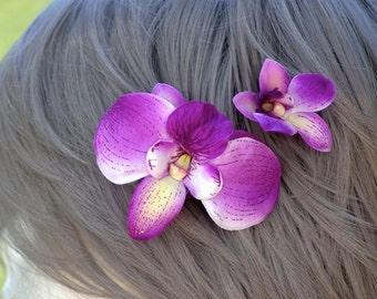TWO Two Tone Purple  Orchid Set hair pin clip piece