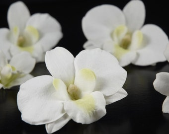 SIngle White Orchid hair pin clip piece