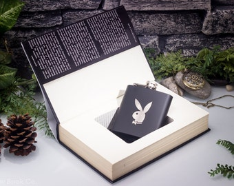 Mr. Playboy: Hugh Hefner and the American Dream Hollow Book Safe with Laser Engraved Hip Flask- Bunny – Monogram Personalization