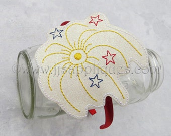 ITH Headband Feltie Design - 4th of July Sparkler - In The Hoop Felt Slide On Embroidery Design 4x4 and 5x7 hoop sizes - Instant Download