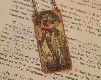 Mucha necklace mixed media jewelry Mucha art jewelry art necklace