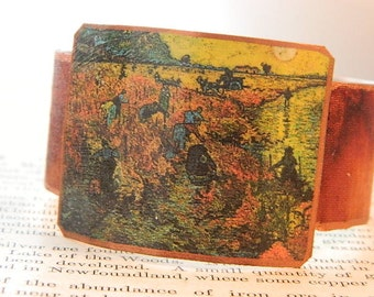Van Gogh bracelet Red Vineyards Van Gogh jewelry mixed media jewelry