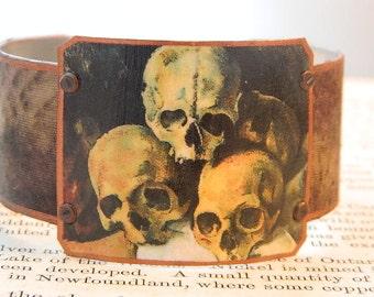 Skull bracelet Skull jewelry Cezzane jewelry Smoking Skull art mixed media jewelry