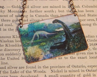 Dinosaur Jewelry Dinosaur necklace Artist Charles R. Knight jewelry Mixed media jewelry