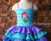The Little Mermaid - Ariel Inspired  Birthday Dress - Pageant Dress - Outfit of Choice - Hair bow - 6m 12m 18m 24m 2T 3 4 5 6  8 10 12 14 16