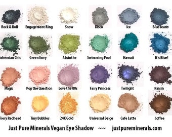 Choose 3 Vegan Eye Shadows - Cruelty Free Mineral Eye Shadow- 1.5g of product each in a 5g sifter jars