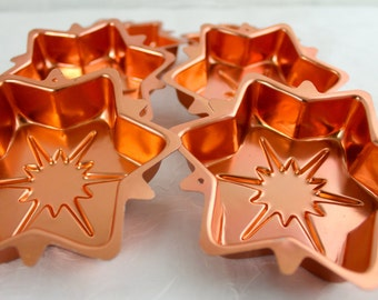 Vintage Copper ATOMIC STAR Jello Mold Set of SIx Starburst Vintage Star North Star Star cupcakes tins