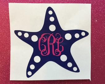 Monogrammed Starfish Decal Initial Personalized Vinyl Beach Sticker Laptop Car Cup Monogram