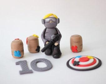 Whimsical Cute Paintball-Themed Fondant Cake Topper Package