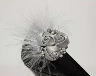 Shoes clips - silver grey flower trio, feather, pearl and rhinestones