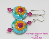 Peace, Love, Garden- Artisan Lampwork Earrings - Whimsical Beaded Earrings