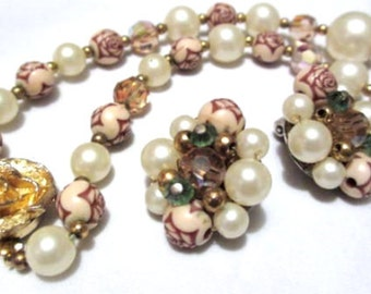 1950s Jewelry Set, Pearl, Crystal, Carved Roses, Necklace with Earrings, Vintage, SUMMER SALE