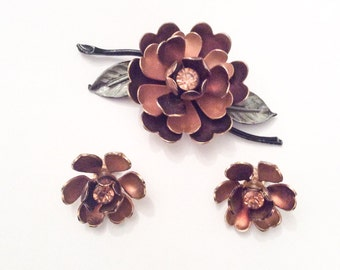 Coro Brooch Set Enamel Flower Brooch with Earrings 1950s Vintage Jewelry, SUMMER SALE