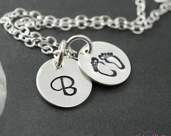 New baby necklace, Personalized New mother necklace, Newborn gift idea, Handstamped, Baby footprints, Baby initial, Disc tags