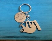 Hanging Sloth Custom Keychain.  Member Sloth Running Team.  Cute Slow Sloth.  Silver Sloth Jewelry.  Your own personalized statement