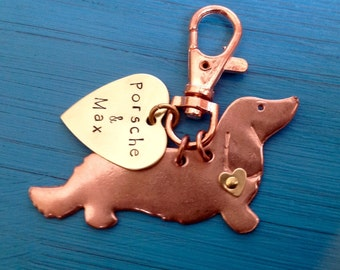 Longhaired Dachshund Keychain. Doxie. Custom Copper Dachshund Jewelry.