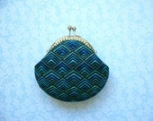 Diamond Plume Coin Purse -Blue and Gold - Handmade gift, Metal frame clutch purse, Bridesmaid Gift, stocking stuffers -Limited Edition