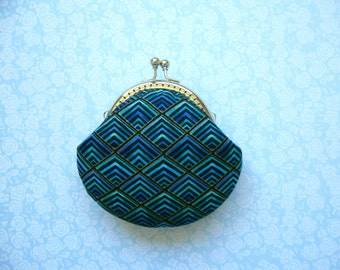 SHOP CLOSING SALE Diamond Plume Coin Purse -Blue and Gold - Metal frame clutch purse, Bridesmaid Gift, stocking stuffers -Limited Edition