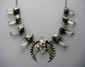 Night Blossom- raw crystal squash blossom necklace with silver studs and raw quartz points