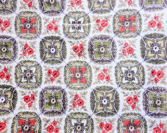 lot of of five 1950s retro print vintage cotton curtain panels