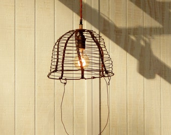 Hanging Metal Farm Basket Light - Vintage Mule Hay Basket Pendant Light
