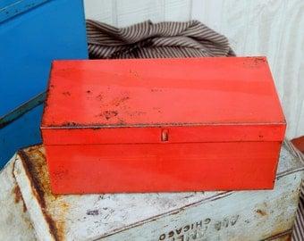 Industrial Metal Tool Box Tray Shabby Storage Box