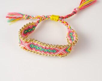 Woven Cotton Braided Boho Friendship Gold Chain Bracelet