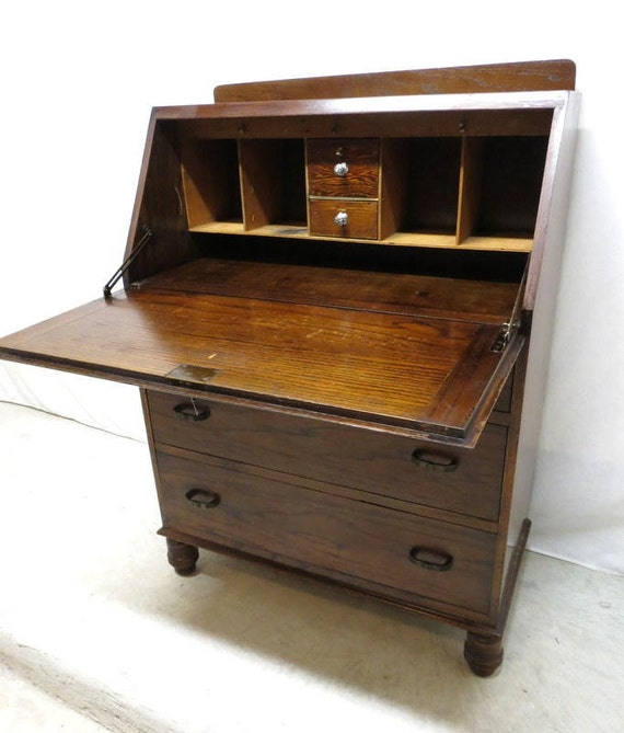 Antique Art Deco Tiger Oak Drop Front Desk Secretary Bureau