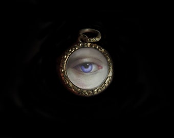 Darling Small Antique 9 K Gold English Foliate Locket  with Tiny Forget Me Not in Enamel & Miniature Painting of a  Blue Lovers Eye