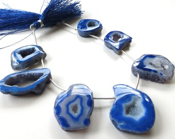 Cobalt Druzy Agate Geode ~ Strand of 7 Beads